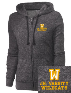 Whittier Elementary School Wildcats Embroidered Women's Marled Full-Zip Hooded Sweatshirt