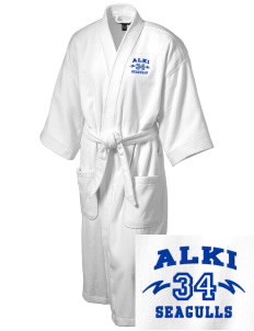 Alki Elementary School Seagulls Embroidered Terry Velour Robe