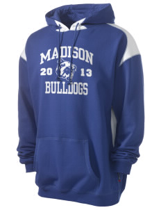 Madison Middle School Bulldogs Men's Pullover Hooded Sweatshirt with Contrast Color