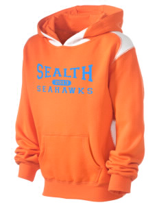 Sealth High School Seahawks Kid's Pullover Hooded Sweatshirt with Contrast Color