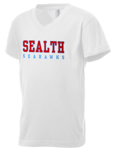 Sealth High School Seahawks Kid's V-Neck Jersey T-Shirt