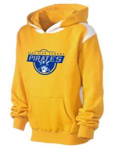 Adna Senior High School Pirates Kid's Pullover Hooded Sweatshirt with Contrast Color