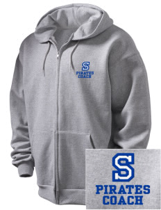 Southside Elementary School Pirates Embroidered Men's Full Zip Hooded Sweatshirt