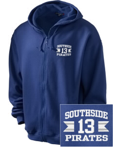 Southside Elementary School Pirates Embroidered Men's Zip-Up Hooded Sweatshirt with Matching Zipper