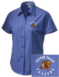 Victor Falls Elementary School Falcons Embroidered Women's Short Sleeve Easy Care, Soil Resistant Shirt