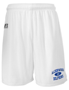 "Alderwood Elementary School Dolphins  Russell Men's Mesh Shorts, 7"" Inseam"