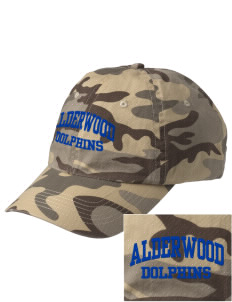 Alderwood Elementary School Dolphins Embroidered Camouflage Cotton Cap