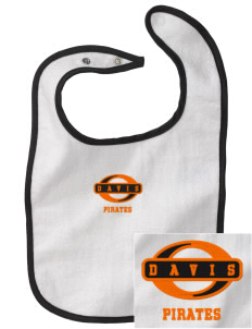 Davis High School Pirates Embroidered Baby Snap Terry Bib