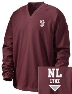 North Linn Elementary School Lynx Embroidered Men's V-Neck Raglan Wind Shirt