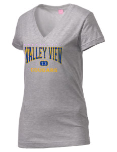 Valley View Middle School Cougars Juniors' Fine Jersey V-Neck Longer Length T-shirt
