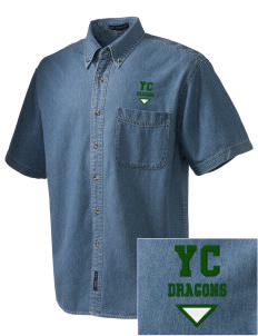 Yamato Colony Elementary School Dragons  Embroidered Men's Denim Short Sleeve