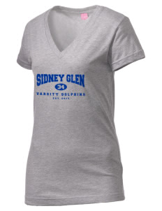 Sidney Glen Elementary School Dolphins Juniors' Fine Jersey V-Neck Longer Length T-shirt