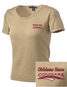 Oklahoma Union School Cougars Embroidered Women's Fine-Gauge Scoop Neck Sweater