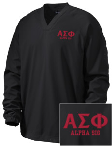 Alpha Sigma Phi Embroidered Men's V-Neck Raglan Wind Shirt