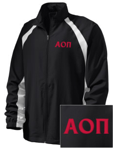 Alpha Omicron Pi  Embroidered Men's Full Zip Warm Up Jacket