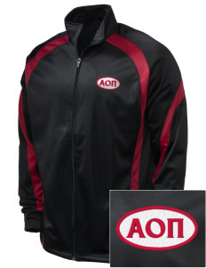 Alpha Omicron Pi Embroidered Holloway Men's Tricotex Warm Up Jacket