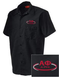 Alpha Phi Embroidered Men's Cornerstone Industrial Short Sleeve Work Shirt