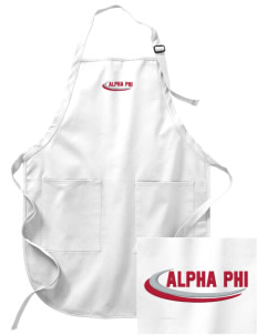 Alpha Phi Embroidered Full-Length Apron with Pockets