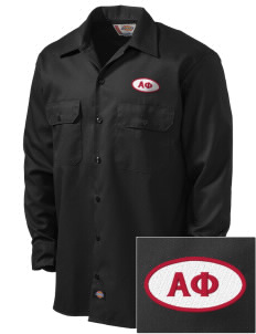 Alpha Phi Embroidered Dickies Men's Long-Sleeve Workshirt