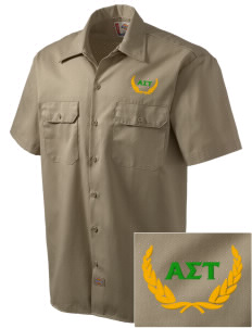 Alpha Sigma Tau Embroidered Dickies Men's Short-Sleeve Workshirt