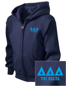 Delta Delta Delta  Embroidered Kid's Full Zip Hooded Sweatshirt