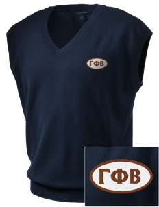 Gamma Phi Beta Embroidered Men's Fine-Gauge V-Neck Sweater Vest
