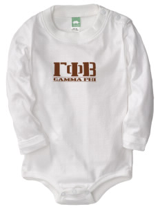 Gamma Phi Beta  Baby Long Sleeve 1-Piece with Shoulder Snaps
