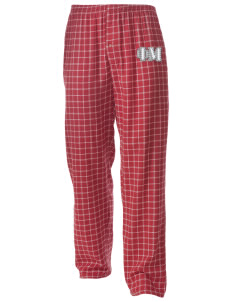 Phi Mu Men's Button-Fly Collegiate Flannel Pant with Distressed Applique
