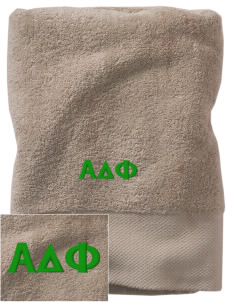 Alpha Delta Phi Embroidered Zero Twist Resort Towel