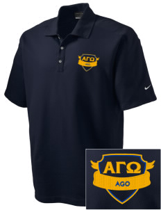 Alpha Gamma Omega Embroidered Nike Men's Dri-FIT Pique II Golf Polo