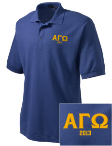 Alpha Gamma Omega Embroidered Tall Men's Silk Touch Polo