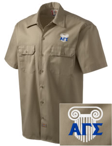 Alpha Gamma Sigma Embroidered Dickies Men's Short-Sleeve Workshirt