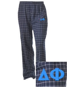 Delta Phi Embroidered Unisex Button-Fly Collegiate Flannel Pant