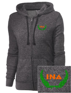 Iota Nu Delta Embroidered Women's Marled Full-Zip Hooded Sweatshirt
