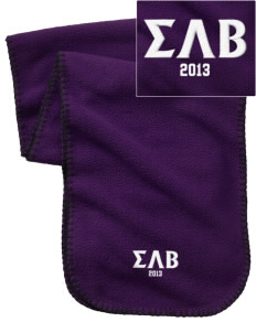 Sigma Lambda Beta Embroidered Fleece Scarf