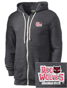 Arkansas State University Red Wolves Embroidered Alternative Men's Rocky Zip Hooded Sweatshirt