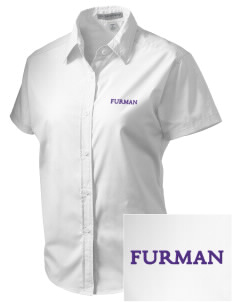 Furman University Paladins Embroidered Women's Short Sleeve Easy Care, Soil Resistant Shirt