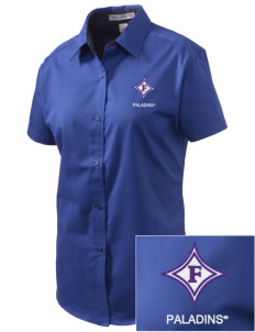 Furman University Paladins Embroidered Women's Easy Care Short Sleeve Shirt