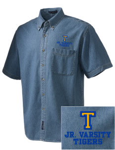 Terrace Elementary School Tigers  Embroidered Men's Denim Short Sleeve