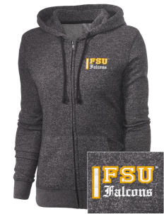 Fairmont State University Falcons Embroidered Women's Marled Full-Zip Hooded Sweatshirt