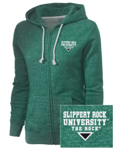 Slippery Rock University The Rock Embroidered Women's Marled Full-Zip Hooded Sweatshirt