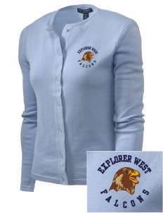 Explorer West Middle School Falcons Embroidered Women's Cardigan Sweater