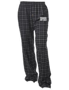 Del Puerto High School Bulldogs Unisex Button-Fly Collegiate Flannel Pant with Distressed Applique
