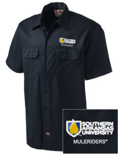 Southern Arkansas University Muleriders Embroidered Dickies Men's Short-Sleeve Workshirt