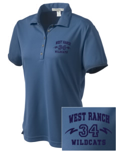 West Ranch High School Wildcats  Embroidered Women's Bamboo Charcoal Birdseye Jacquard Polo