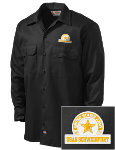 USAG Schweinfurt Embroidered Dickies Men's Long-Sleeve Workshirt