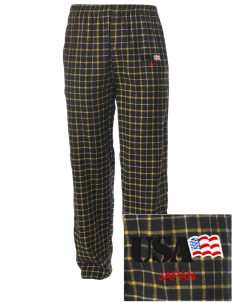 Camp Zama Embroidered Men's Button-Fly Collegiate Flannel Pant