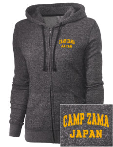 Camp Zama Embroidered Women's Marled Full-Zip Hooded Sweatshirt