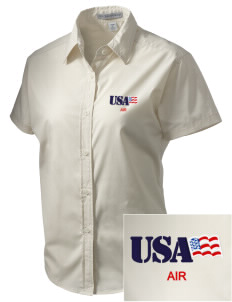 Jacksonville Naval Air Station Embroidered Women's Short Sleeve Easy Care, Soil Resistant Shirt