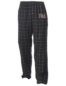 Gamma Phi Delta Men's Button-Fly Collegiate Flannel Pant with Distressed Applique